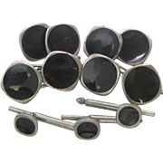Art Deco Nine Piece White Gold Filled Cufflinks and Studs Tuxedo Set