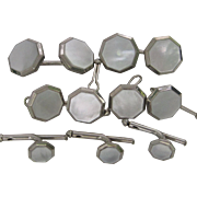 Art Deco Mother of Pearl and White Gold Filled Stud and Cufflinks Tuxedo Set