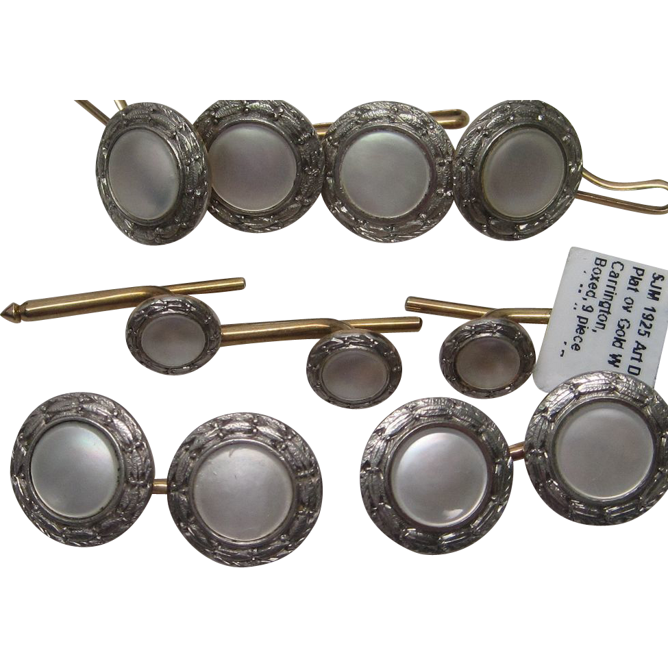 1925 Boxed Carrington Nine Piece Dress Set, Mother of Pearl and Platinum Over Gold