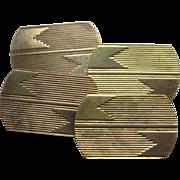 Art Deco 9K Yellow Gold Engraved Cufflinks