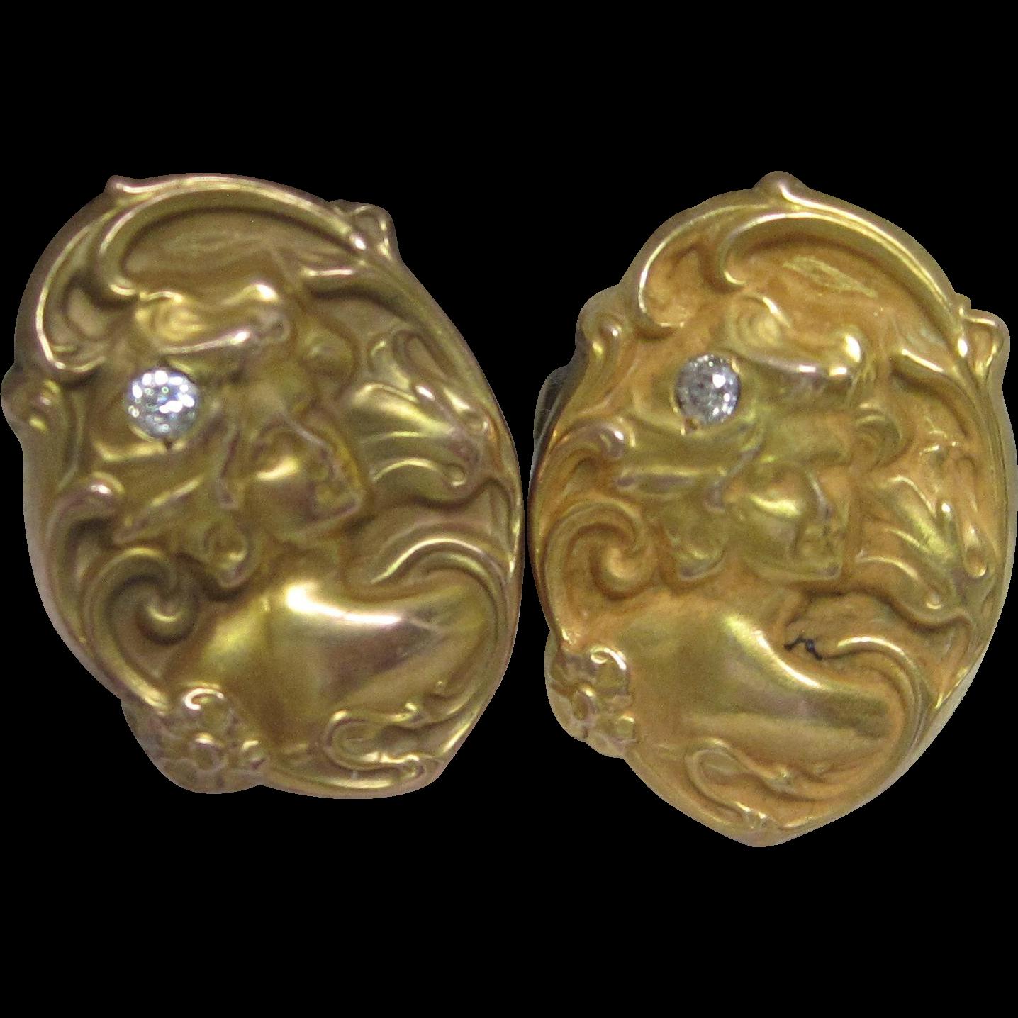 Art Nouveau Diamond Cufflinks in 10K Yellow Gold