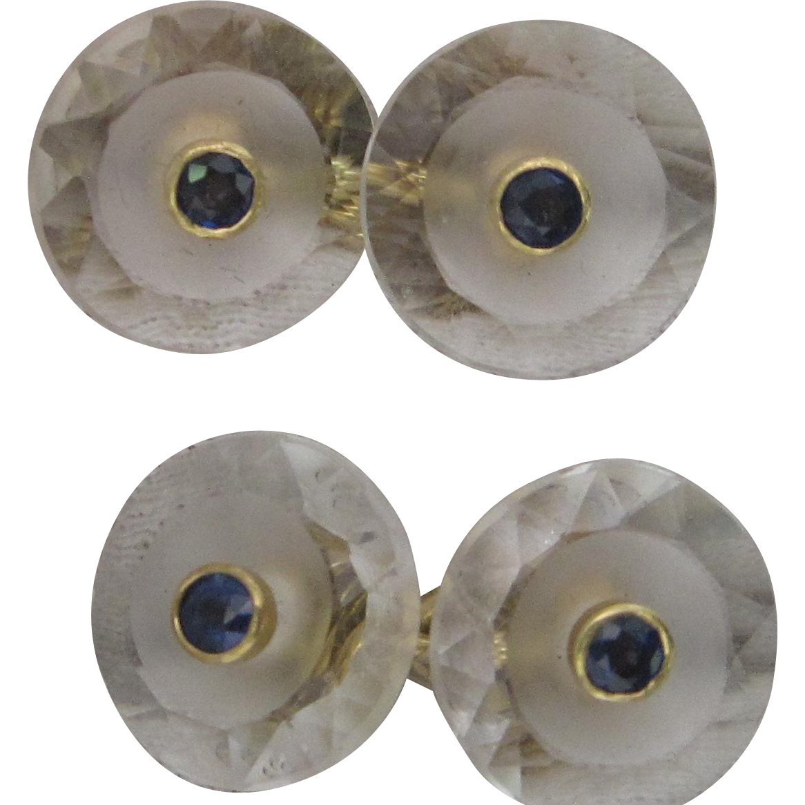 18K Yellow Gold Rock Crystal and Sapphire Cufflinks