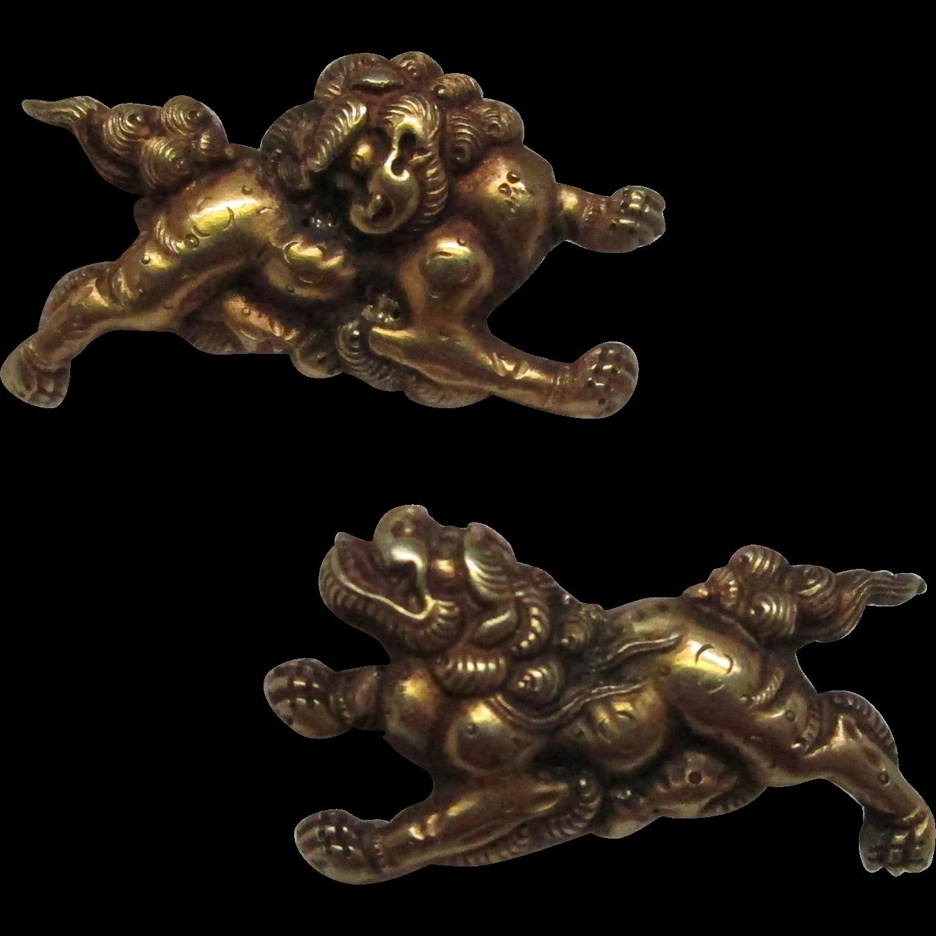Japanese Menuki Gold Cufflinks