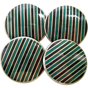 Sterling Silver Green and Black Enamel Cufflinks