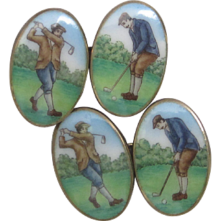 Hand Painted Enamel Golfers' Cufflinks in Sterling Vermeil