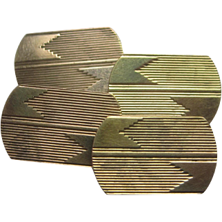 Art Deco Yellow Gold Engraved Cufflinks
