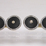Art Deco Platinum ov 14K Gold Onyx and Pearl Cufflinks