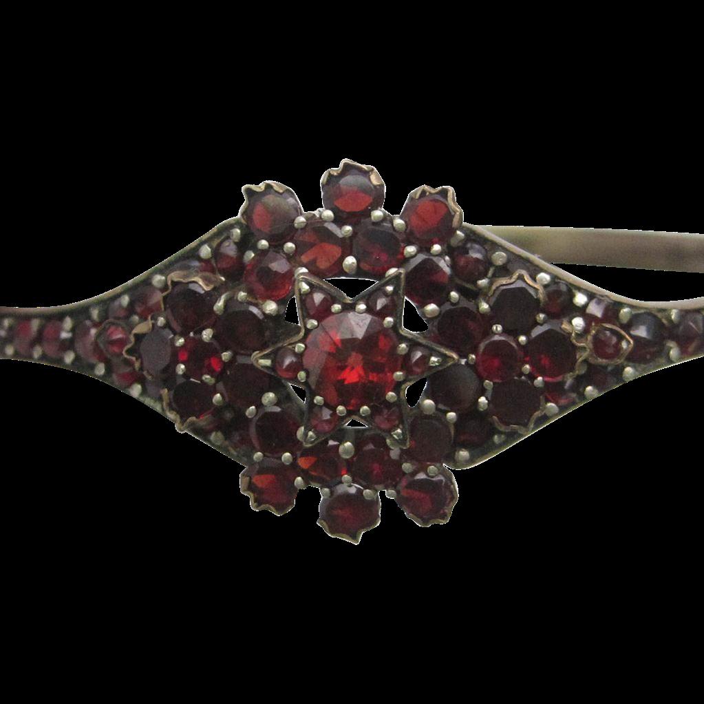 1880 Victorian Bohemian Garnet Silver Gilt Bracelet