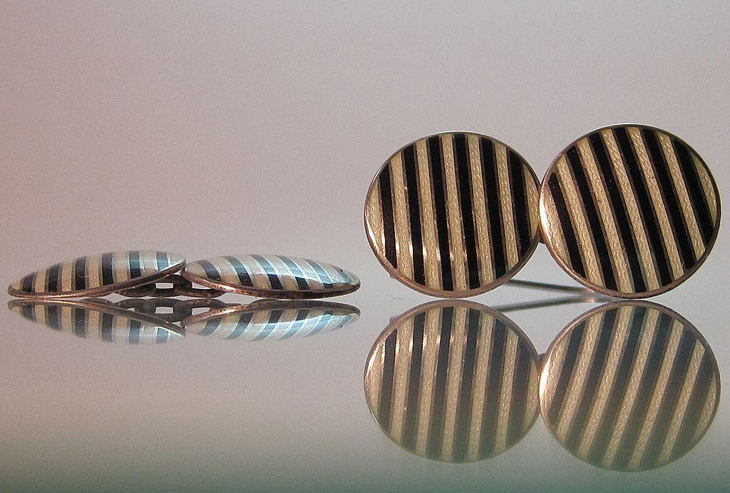 Sterling Enamel Guilloche Cufflinks Art Deco Stripes