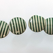 Sterling Enamel Guilloche Cufflinks Art Deco Green Stripes