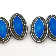 Deco Sterling Silver Enamel Guilloche Cufflinks Blue & Green