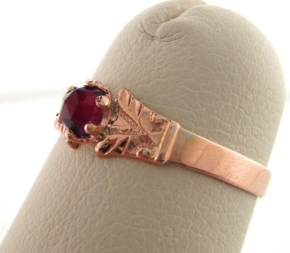 Victorian 14K Rose Cut Garnet Child's Ring