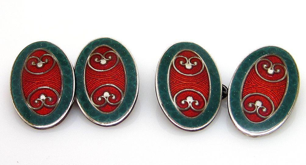 Sterling Silver Art Deco Enamel Guilloche Cufflinks Krementz Green Red