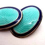 Deco Sterling Silver Guilloche Enamel Cufflinks Blue Green