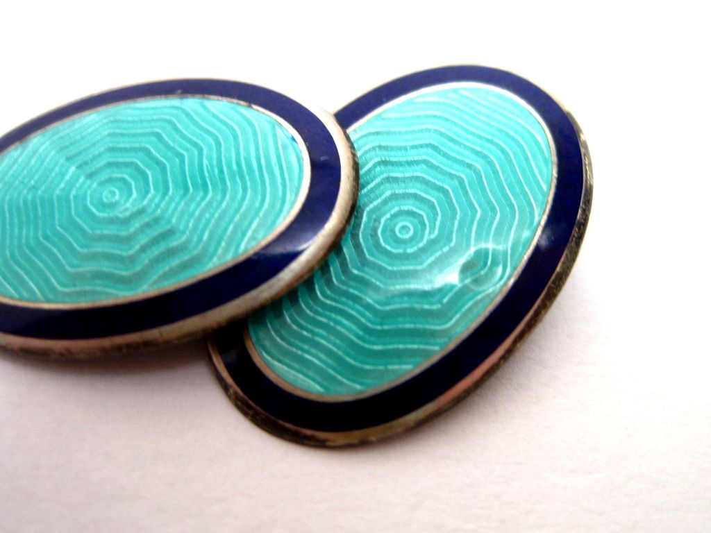 Deco Sterling Silver Guilloche Enamel Cufflinks Blue Green