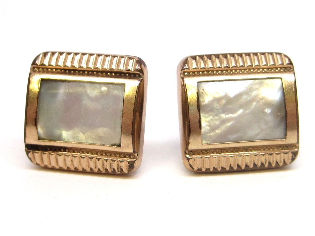 Antique Mother of Pearl Swivel Cufflinks dated 1883 victorian