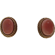 Angel Skin Coral Earrings Natural and Undyed with 14K Yellow Gold Omega Back Post Clip Findings