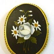 Victorian Pietre Dure Pin Pendant 14K Gold