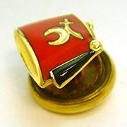 Vintage 14K Gold Red Enamel Shriners Hat Lapel Pin