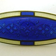 Art Deco Sterling Silver Guilloche Two-color Enamel Pin