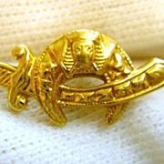 Vintage 14K Gold Engraved Shriners Masonic Scimitar Pin
