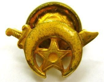 14K Gold Enamel Masonic Shriners Star Scimitar Pin