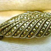 Art Deco Sterling Silver Marcasite Leaf Pin