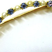 Victorian 14K Gold Montana Sapphire Pearl Curve Pin