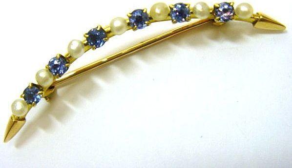 Victorian 14K Gold Montana Sapphire Pearl Curve Pin