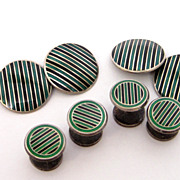Deco Sterling Silver Enamel Guilloche Green & Black Stripe Stud Set cufflinks