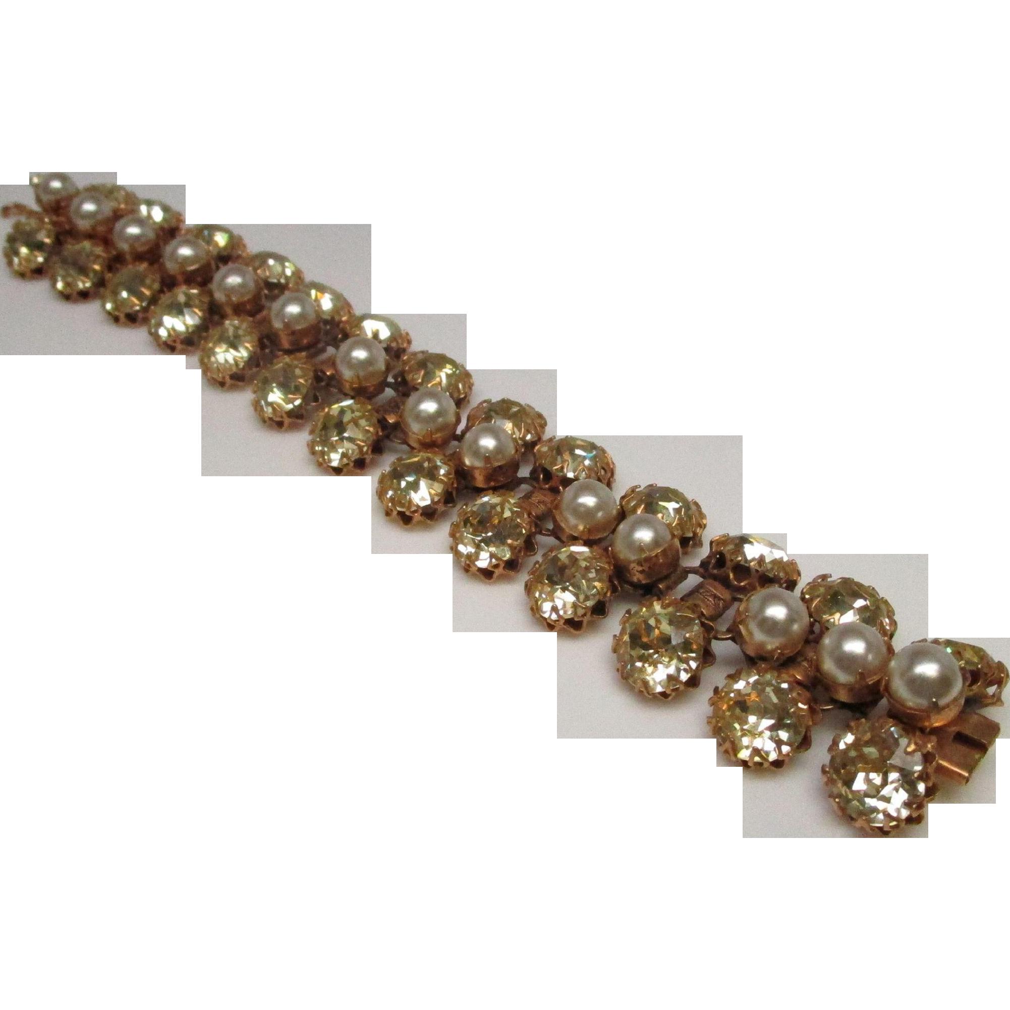 Schreiner Deco Rhinestone Pearl Costume Bracelet