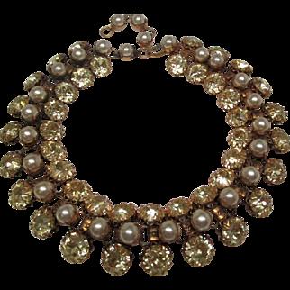 Schreiner Deco Rhinestone Pearl Choker Necklace