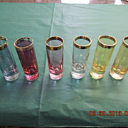 Vintage Art Deco Style Multi-Colored Shooters (Shot Glass) Handblown crystal