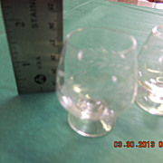 Vintage Handblown Crystal Snifters (Cordials or Shot glass) with etched Laurel pattern and Three Spheres