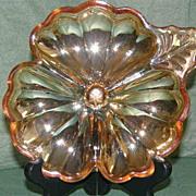 Jeannette Marigold Carnival Glass Cloverleaf Dish
