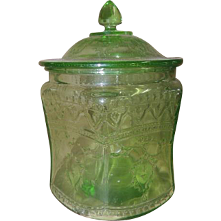 "Vintage Federal Glass Co. ""Spoke"" or ""Patrician"" in Green Cookie Jar & Lid"