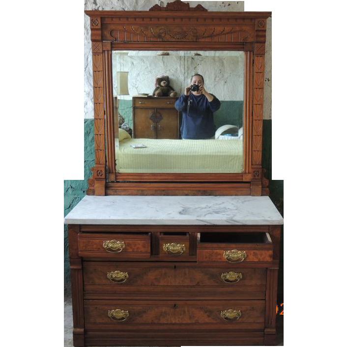 Antique Eastlake Walnut Marble Top 3 Over 2 Dresser With
