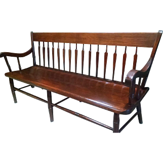 19th Century One Board Arrow Back Mahogany Bench