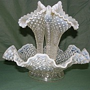 Vintage Fenton French Opalescent Diamond Epergne