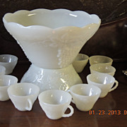 Anchor Hocking Milkglass Sandwich pattern Punch Bowl & Cups
