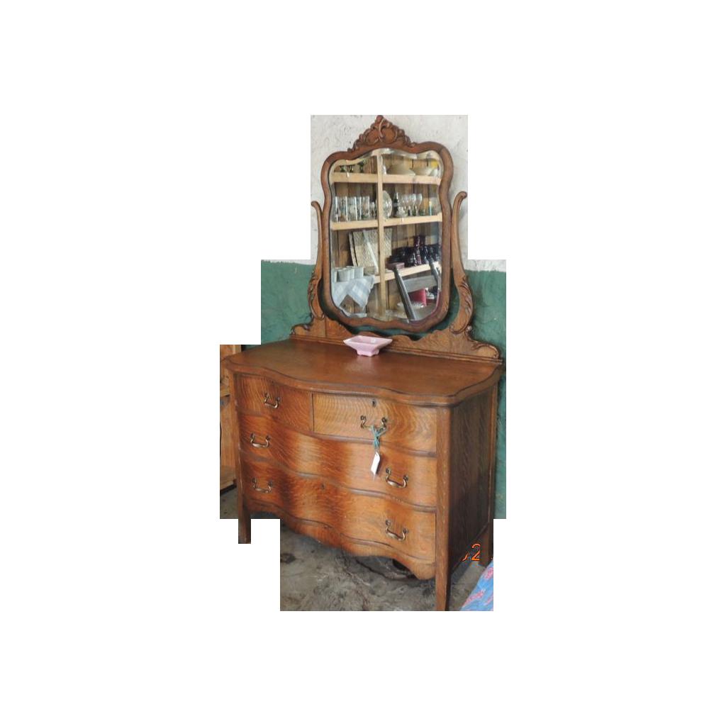 Antique Oak Serpentine Dresser With Beveled Mirror Sold On