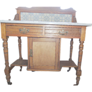 Antique Victorian Ash Washstand with Marble top and Delft Tile backsplash