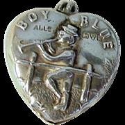Adie Lovekin Puffy Heart Charm Boy Blue Sterling Rattle 1920