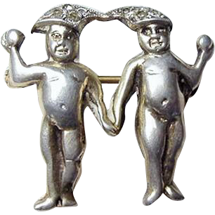 German 835 Silver Naked Cherubs Brooch Joined at Paste Set Caps