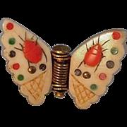 Japanese Shibayama Ox Bone Inlaid Butterfly Pinch Brooch