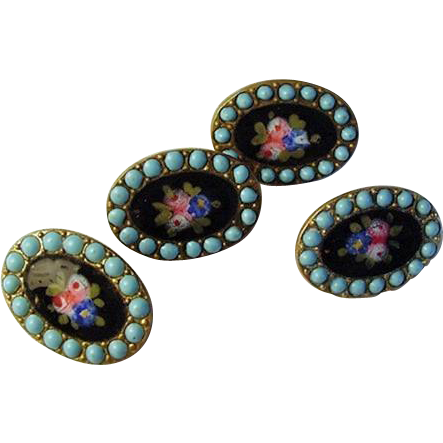 Set of 4 Buttons Enamel Roses Persian Turquoise Forget-Me-Nots