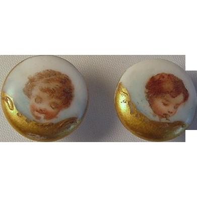 Set Three Edwardian Porcelain Buttons, Angels Cherubs Putis, Collar & Cuff