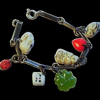 Vintage Czech Glass 7 Charm Good Luck Bracelet