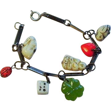 Vintage Czech Glass 7 Charm Good Luck Bracelet