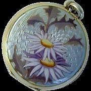 1900's Swiss Daisy Guilloche Enamel Locket Charm FBE Geneva 935 Silver